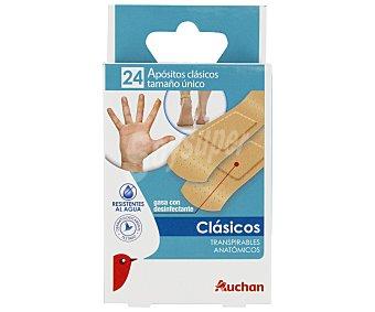 Auchan Apósitos clásicos de 7 x 2 cm, transpirables, anatómicos y resistentes al agua 24 uds
