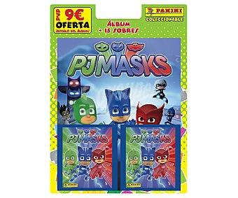 Panini Álbum + 15 sobres de cromos coleccionables de los personajes de pjmasks, panini