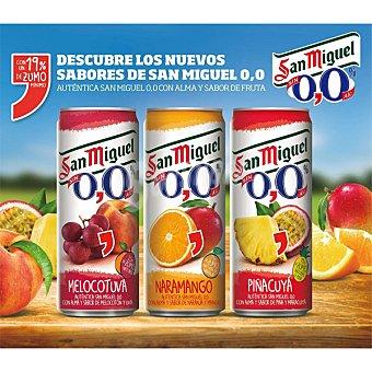 San Miguel 0,0% Sabores Melocotón-Uva, Naranja-Mango, Piña-Maracuya Pack 3 latas 33 cl Pack 3 latas 33 cl