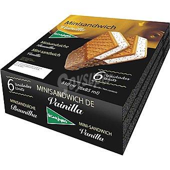 El Corte Inglés Minisándwich con helado de vainilla estuche 510 ml 6 unidades