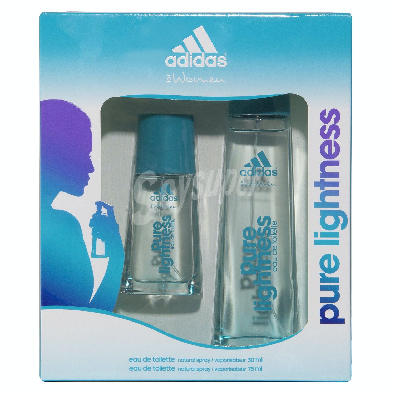 banda barbilla estornudar  Adidas Lote mujer colonia 75 ml + gel ducha 150 ml pure lightness 1 unidad
