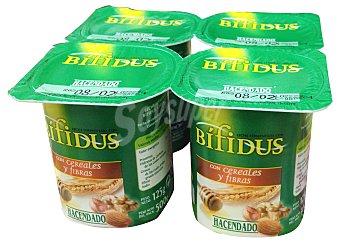 Hacendado Yogur bifidus fibras cereales Pack 4 x 125 g - 500 g