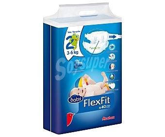 AUCHAN Baby FLEXFIT Pañales talla 2, para bebés de 3 a 6 kilogramos 40 uds
