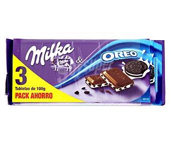 Milka Chocolate Oreo 3 Unidades de 100 Gramos