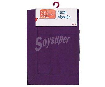 AUCHAN Mantel individual 100% algodón color morado liso, 35x50 centímetros 1 Unidad