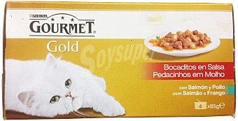 Gourmet Purina Gourmet Gold con Salmón y Pollo 4 unidades x 85 g (340 g)