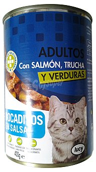Lucy Comida gato adultos bocaditos salsa salmon trucha y verduras Lata 415 g