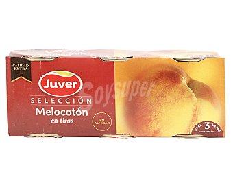 Juver Melocotón en tiras en almíbar Pack de 3 unidades de 125 gramos