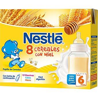 Nestlé Papilla 8 cereales con miel envase 500 ml 2x250ml