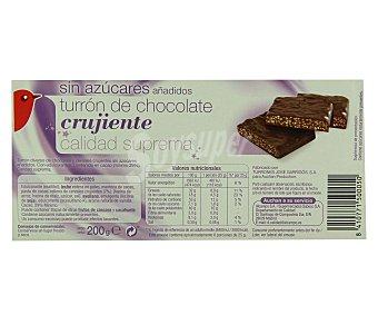 Auchan Turrón de chocolate crujiente y arroz inflado sin azúcares añadidos 200 gramos