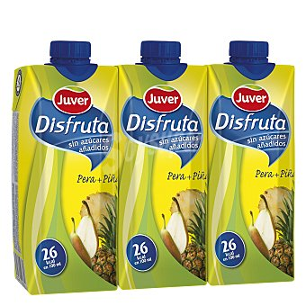 Juver Néctar sin azúcar pera y piña Pack de 3x33cl