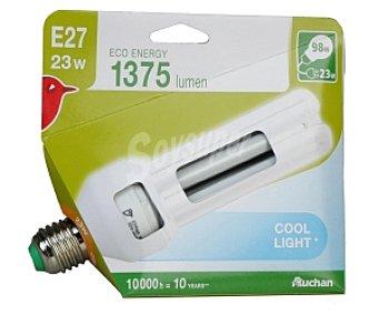 Auchan Bombilla bajo consumo tubo 23 Watios, casquillo E27 (grueso) y luz blanca 1 unidad