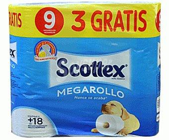 Scottex Papel Higiénico mega rollo 6u+50%