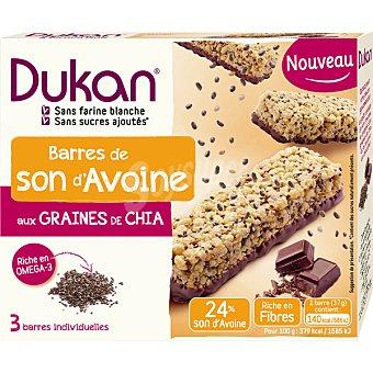 DIETA DUKAN barrita de salvado de avena con granitos de chía y chocolate envase 3 unidades