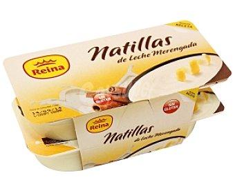 Postres Reina Natillas sabor leche merengada, sin gluten Pack 4 Unidades de 125 Gramos