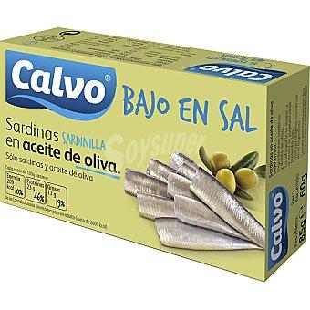 Calvo Sardinillas en aceite de oliva bajo en sal Lata 60 g neto escurrido