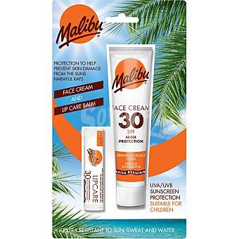 MALIBU Crema bronceadora facial FP-30 resistente al agua + protector labial tubo de 40 ml