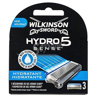 Wilkinson Recambio cargador afeitar hydro sense 5 hojas Paquete 3 u