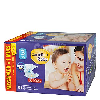 Carrefour Baby Pañal con elástico T3 (4-9 kg.) Carrefour Baby 164 ud