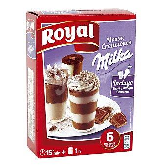 ROYAL Creaciones Mousse con chocolate Milka incluye vasos y mangas pasteleras 6 raciones  Caja de 166 g