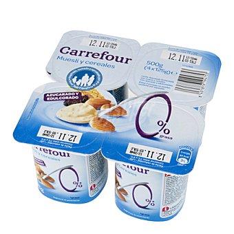Carrefour Yogur desnatado con Muesli Pack de 4x125 g