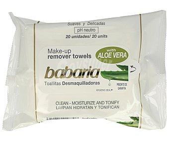 Babaria Toallitas desmaquilladoras Aloe Vera 20 ud
