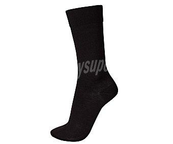 KLER Calcetines de algodón y punto liso con puntera remallada sin costuras y antibacterias, color negro, talla 42/44 1 par