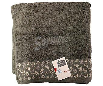 AUCHAN Toalla para ducha de algodón, estampado jacquard color gris, 70x140 centímetros 1 Unidad