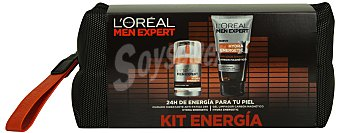 L'Oréal Lote hombre facial crema hidratante 50 cc + limpiador expert carbón magnético 150 cc + neceser  1 lote