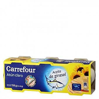 Carrefour Atún claro en aceite de girasol Pack de 3 unidades de 52 g