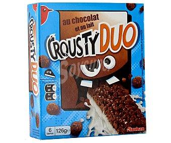 Auchan Barritas de cereales de chocolate con leche crousty duo 126 g