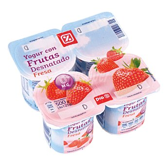 DIA Yogur con fresa desnatado Pack 4 unidades 125 g