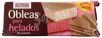 Hacendado Galleta oblea maxi para helado *verano* Paquete 20 u