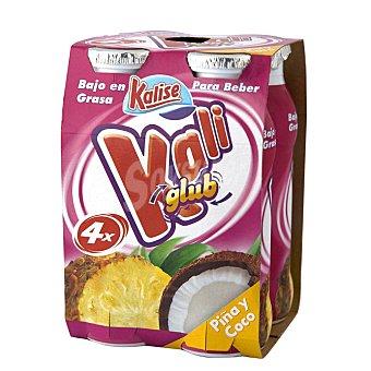 Kalise Yogur líquido de coco y piña sin gluten Pack de 4 unidades de 200 g