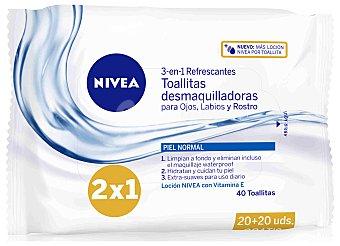 NIVEA VISAGE toallitas desmaquilladoras refrescantes 3 en 1 para pieles normales envase 40 unidades