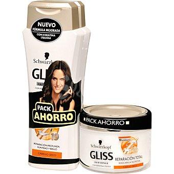Gliss Schwarzkopf Pack reparación total con champú con keratina líquida pack 2 frasco 250 ml + mascarilla nutritiva tarro 200 ml Pack 2 frasco 250 ml