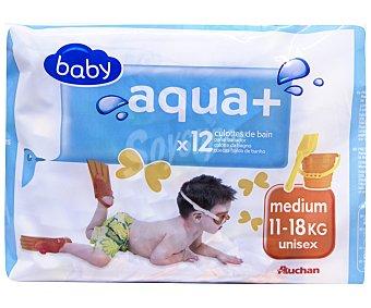BABY Pañales bañador unisex mediano, para niños de 11 - 18 kilos Aqua + 12 uds
