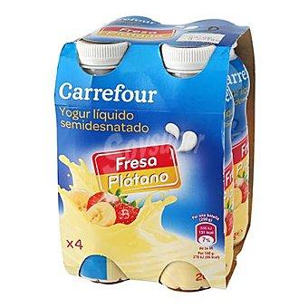Carrefour Yogur liquido semidesnatado de fresa y plátano 4 unidades de 200 ml