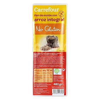 Carrefour-No gluten Pan de molde con arroz integral-sin Gluten 480 g
