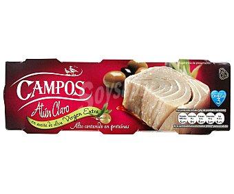 Campos Atún Claro en Aceite Virgen Extra Pack 3 Unidades de 56 Gramos