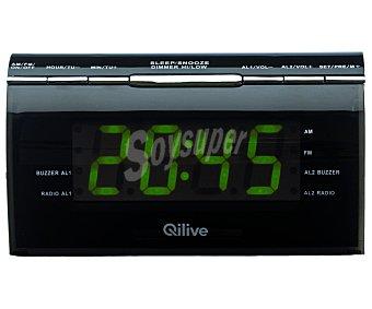Qilive Radio reloj despertador QLIVEQ1411 radio am/fm, doble alarma, regulador intensidad luz