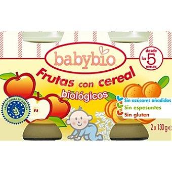 BABYBIO frutas con cereal biológicos sin gluten  pack 2 tarrina 130 g