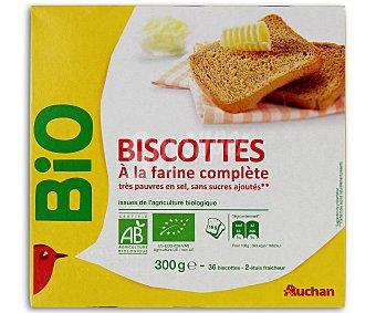 Auchan Biscotes ecológicos,harina integral con bajo contenido en sal y sin azúcares añadidos 300 gr