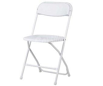 NEWSTORM Silla plegable para jardín. Fabricada en acero pintado con asiento y respaldo de resina blanca. Apta tanto para interior como para exterior 1 unidad