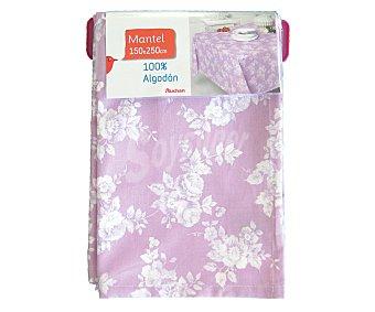 AUCHAN Mantel estampado floral color violeta, 100% algodón, 150x250 centímetros 1 Unidad
