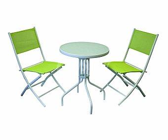 My garden Set de mobiliario de balcón con estructura de acero pulverizado de color blanco y asientos y respaldos de textileno de color verde limón, compuesto por 2 sillas plegables (61x44x86cm) y 1 mesa redonda de 60 centímetros con encimera de cristal templado de 5 milímetros 1 unidad