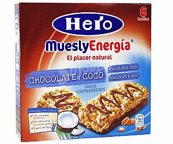 Hero Barritas de cereales con chocolate y coco muesly energía de 6 unidades de 25 gramos