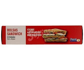 Fami Bolsas de sandwich con cierre autoadhesivo 20 uds