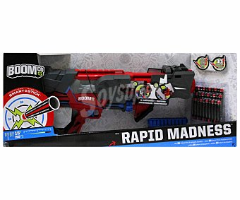 BOOM CO Lanzador de Dardos Blaster Rapid Madness con 30 Dardos 1 Unidad