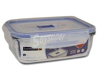 LUMINARC Recipiente hermético rectángular de vidrio templado Pure Box Active, 0,82 litros, 16x11 centímetros 1 Unidad